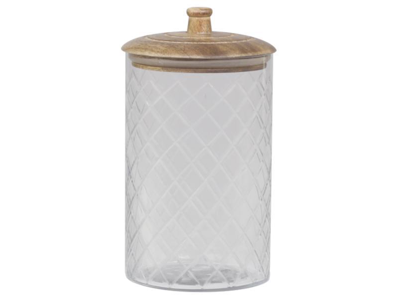Glasbehälter mit Deckel aus Mangoholz