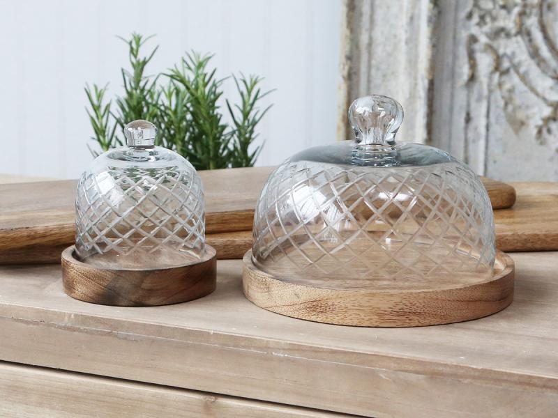Glasglocke mit Mangoholz-Boden H14